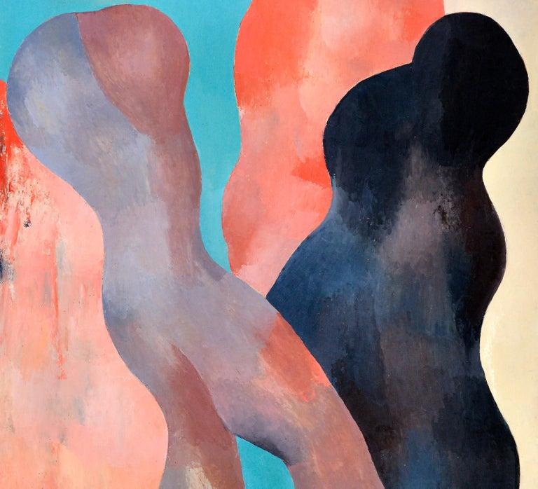 Modern Abstract Figures, Black, Beige, Orange, Brown, Turquoise & Dark Blue, circa 1977 For Sale