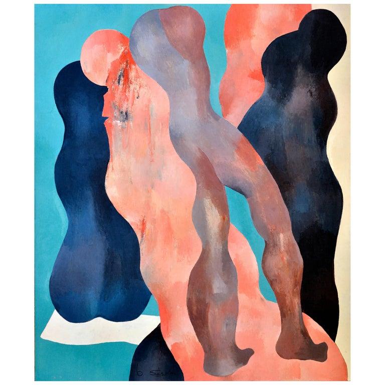 Abstract Figures, Black, Beige, Orange, Brown, Turquoise & Dark Blue, circa 1977 For Sale