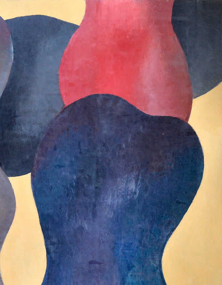 Modern Abstract Figures, Orange, Beige, Dark Blue and Red, circa 1976 For Sale