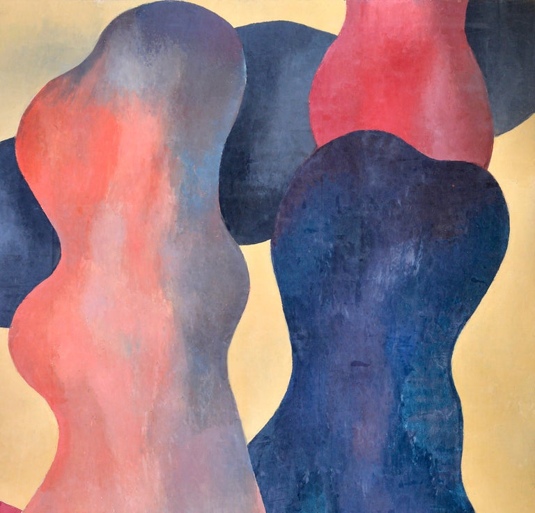 20th Century Abstract Figures, Orange, Beige, Dark Blue and Red, circa 1976 For Sale