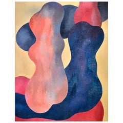 Abstract Figures, Orange, Beige, Dark Blue and Red, circa 1976