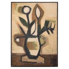 Abstract Flower Oil on Canvas by Ramon Prats Mid-Century Modern Painting