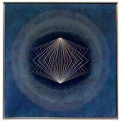 Abstract Geometric Acrylic on Masonite Signed Tania / La Jolla