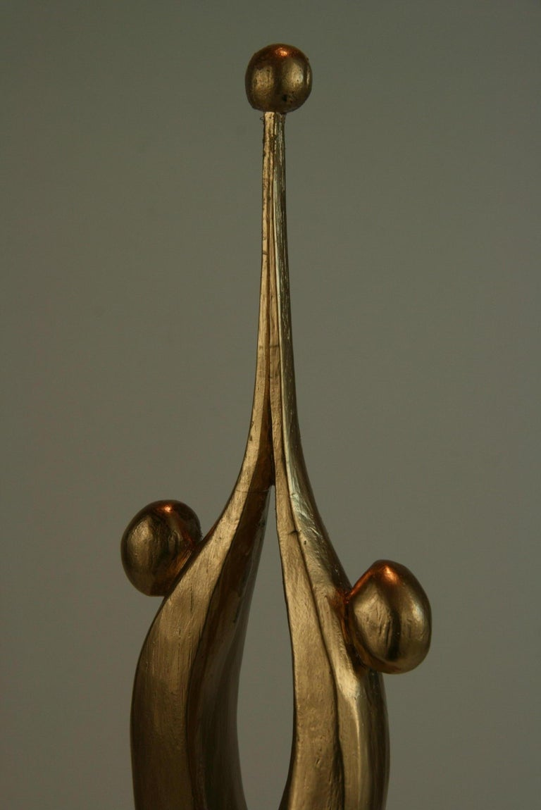 Hardwood Abstract Gilt Wood Sculpture For Sale