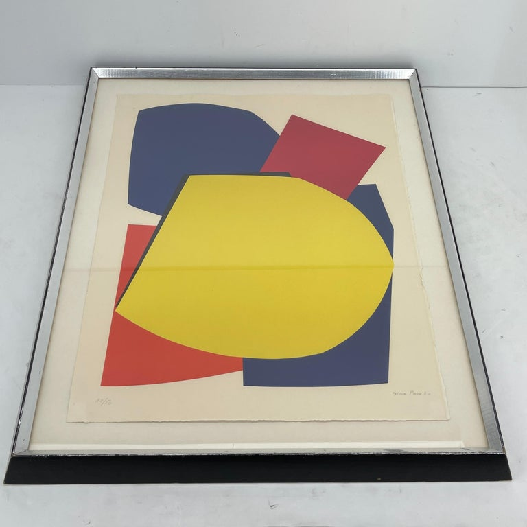 French Abstract Gina Pané Print, in Blue Red Yellow, Mid-Century Modern For Sale