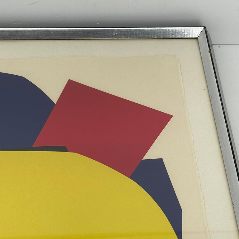 Paper Abstract Gina Pané Print, in Blue Red Yellow, Mid-Century Modern For Sale