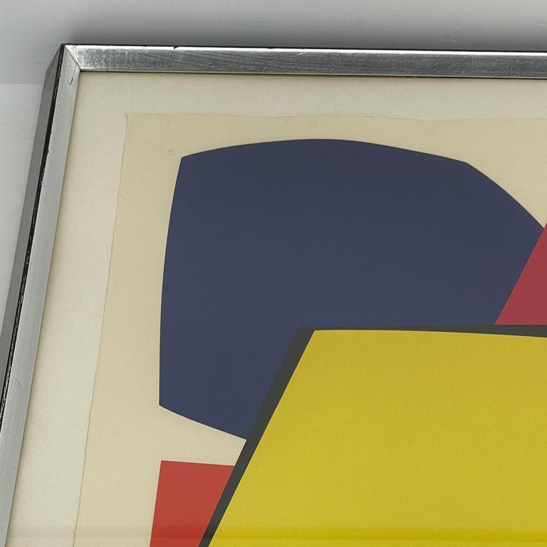 Abstract Gina Pané Print, in Blue Red Yellow, Mid-Century Modern For Sale 1