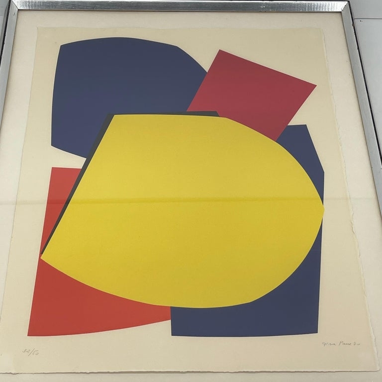 Abstract Gina Pané Print, in Blue Red Yellow, Mid-Century Modern For Sale 2