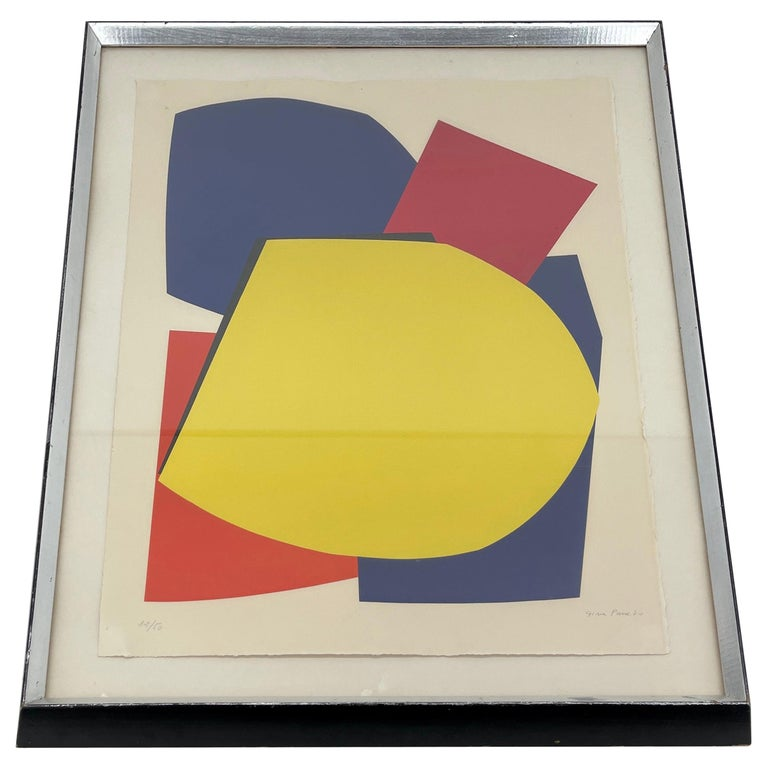 Abstract Gina Pané Print, in Blue Red Yellow, Mid-Century Modern For Sale