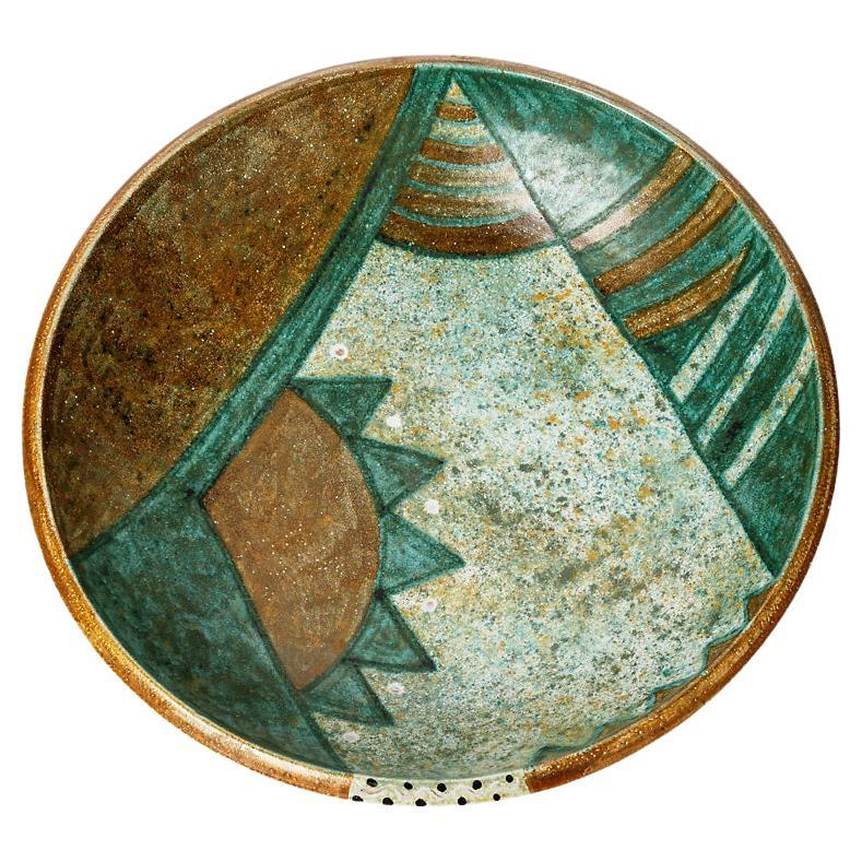 Abstract Green and Brown Decorative Ceramic Plate by Bernard Buffat, 1970