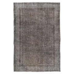 7x10.5 Ft Abstract Hand-Knotted Vintage Contemporary Rug Over-Dyed in Gray Color