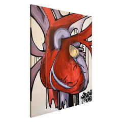 """Abstract Heart"" Artist Marcus Stubbs Acrylic and Black Ink Wildstyle Graffiti"