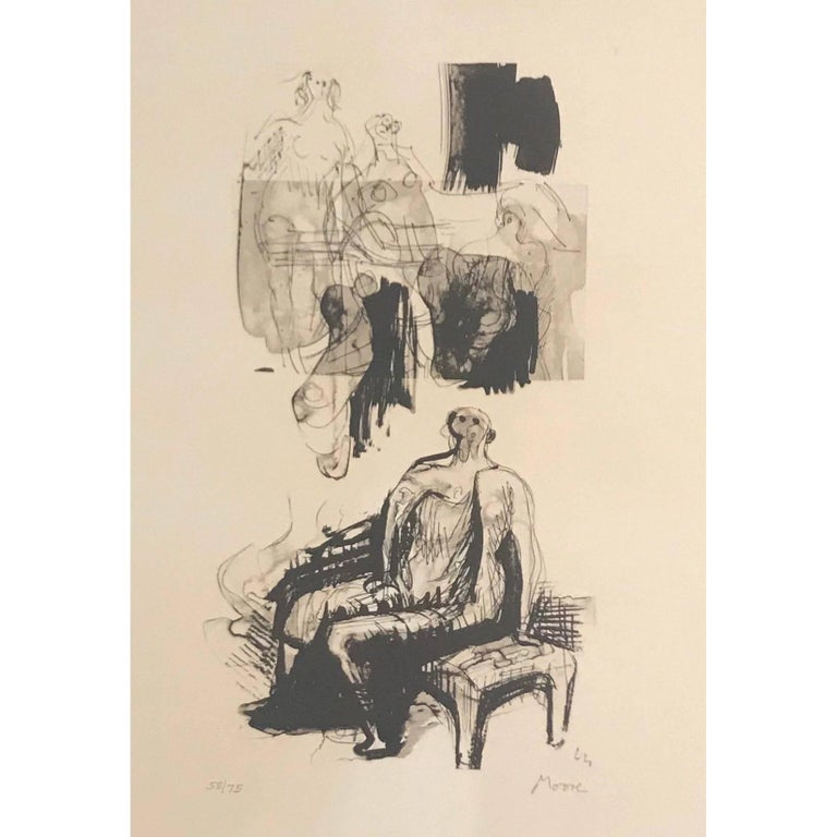 Abstract Henry Moore Lithograph, 1973