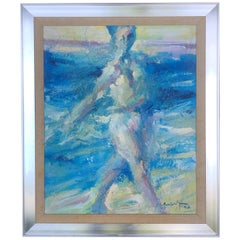 Abstract Impressionist Midcentury Oil Painting of Nude on Beach