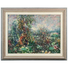 Abstract Impressionistic Painting, Thanksgiving Time by Armand Wargny circa 1940