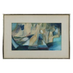 Abstract Impressionistic Watercolor Painting of Sailboats, Constance B. Marshall
