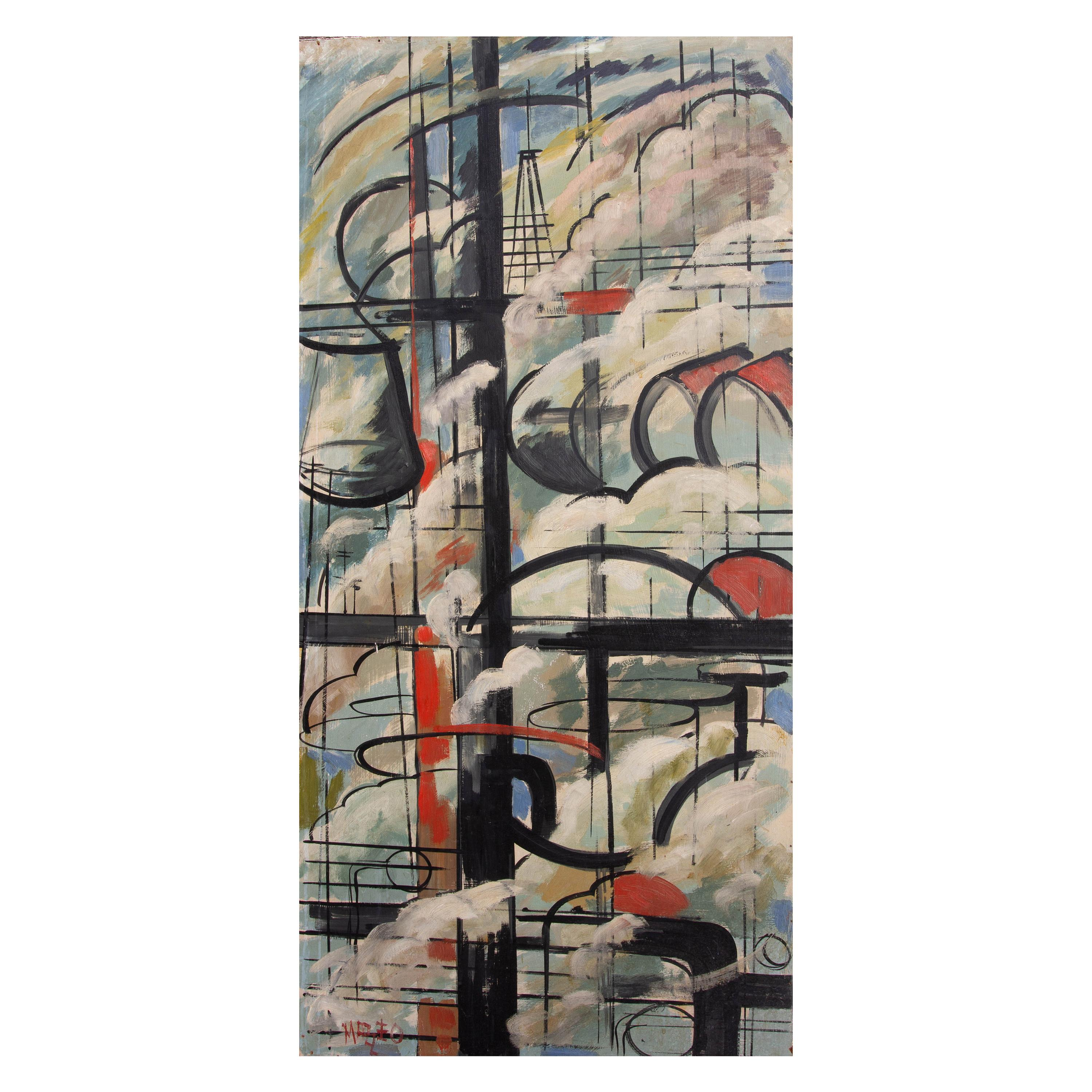 Abstract Industrial Painting Mid-Century Modern