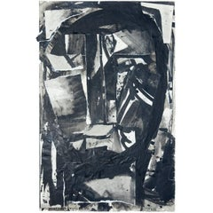 Abstract Ink and Charcoal Collage Head 2 from Sylvia Schuster