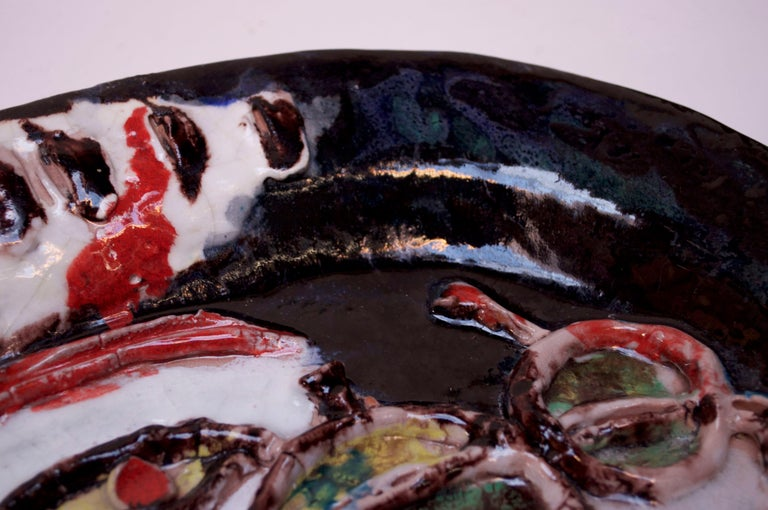 Abstract Italian Modernist Ceramic 'Face' Charger For Sale 7