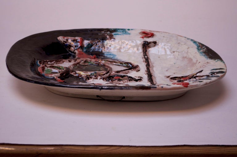 Abstract Italian Modernist Ceramic 'Face' Charger For Sale 1