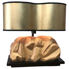 Abstract Italian Wood Sculpture Organic Table Lamp