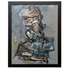"""Abstract Jim Dine Style """"Torso"""" Painting Vintage"""