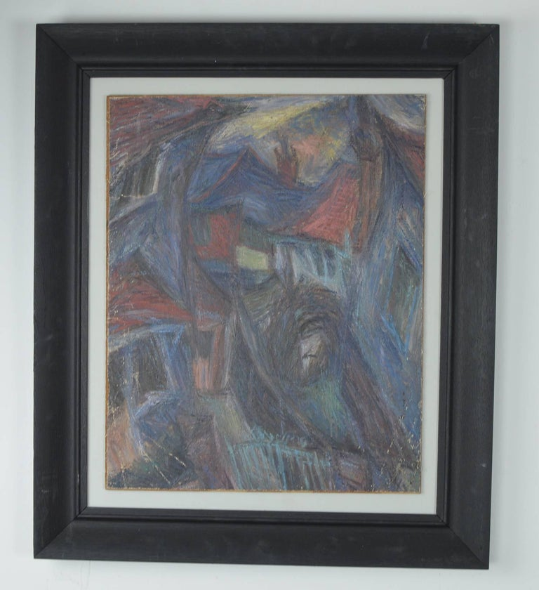 Wonderful abstract landscape.  Fabulous colors, almost pastel like.  Acrylic on canvas laid on board.  Antique ebonized oak frame.  Unsigned.