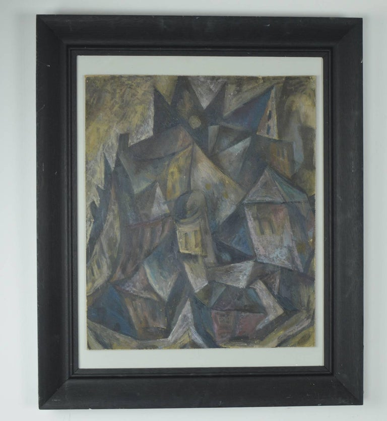 Wonderful abstract landscape.  Fabulous muted colors, almost pastel like.  Acrylic on canvas laid on board.  Antique ebonized oak frame.  Unsigned.
