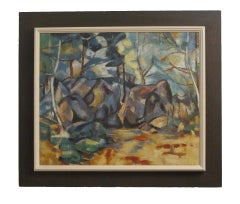 Abstract Landscape Oil Painting, California Artist 20th Century