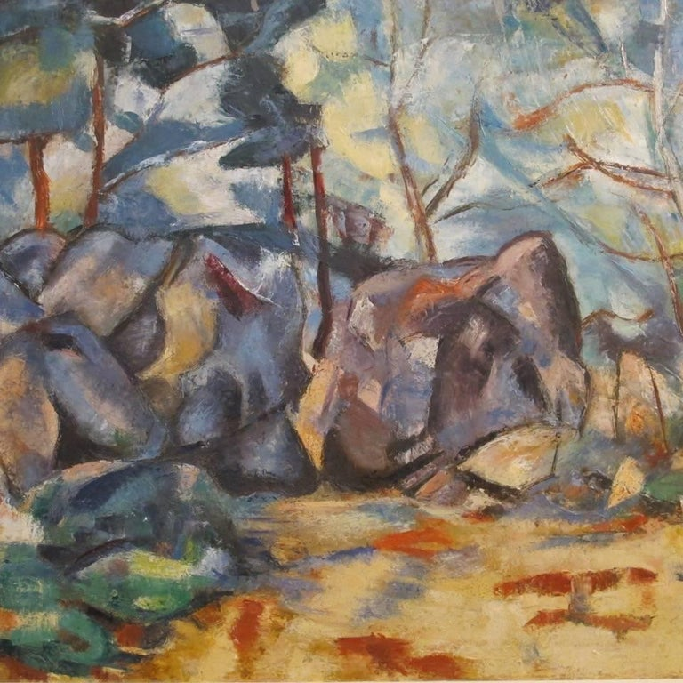 Abstract landscape or forest scene painting, oil on canvas in original wood frame, attributed to California artist Kathy Maine. American, last half 20th century. The inner sight measures 20 inches high x 24 inches wide.