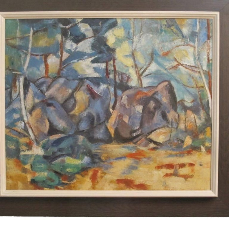 Hand-Painted Abstract Landscape Painting, California Artist 20th Century For Sale