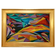 Abstract Landscape Painting of Laramie, Wyoming by Judy Langland, circa 1940s