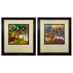 Abstract Landscape Water Color Painting Signed and Frame, a Compatible Pair
