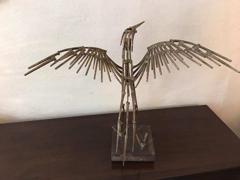 Mid-20th Century Abstract Large Bird Nail Sculpture For Sale