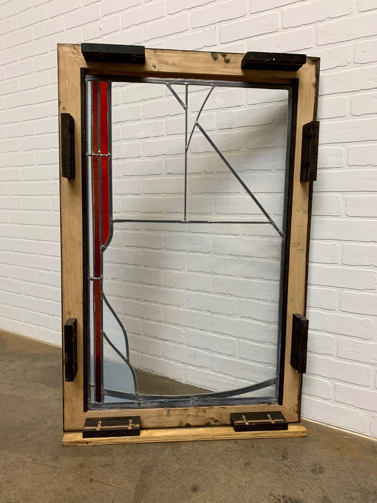 Abstract Leaded Glass Window For Sale 7