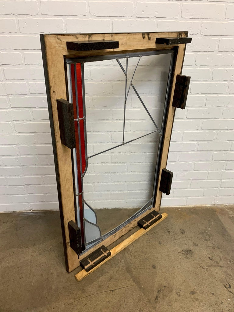 Abstract Leaded Glass Window For Sale 8