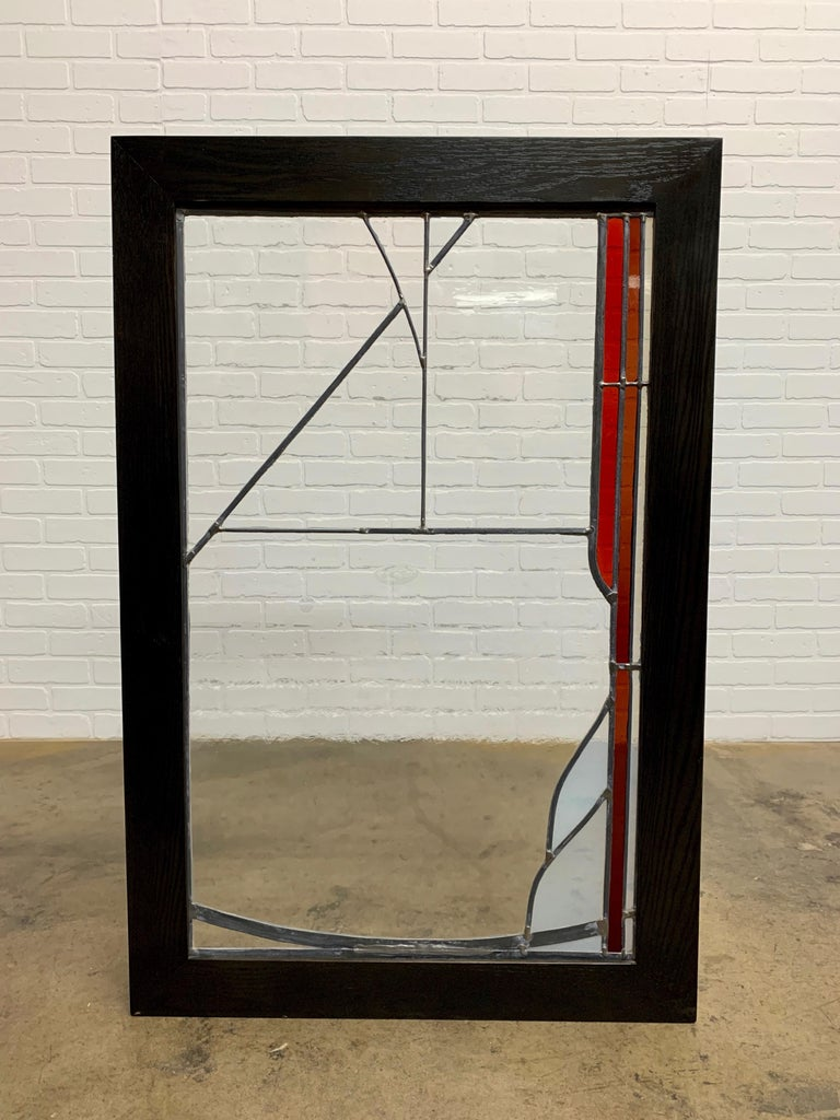 Modern Abstract Leaded Glass Window For Sale