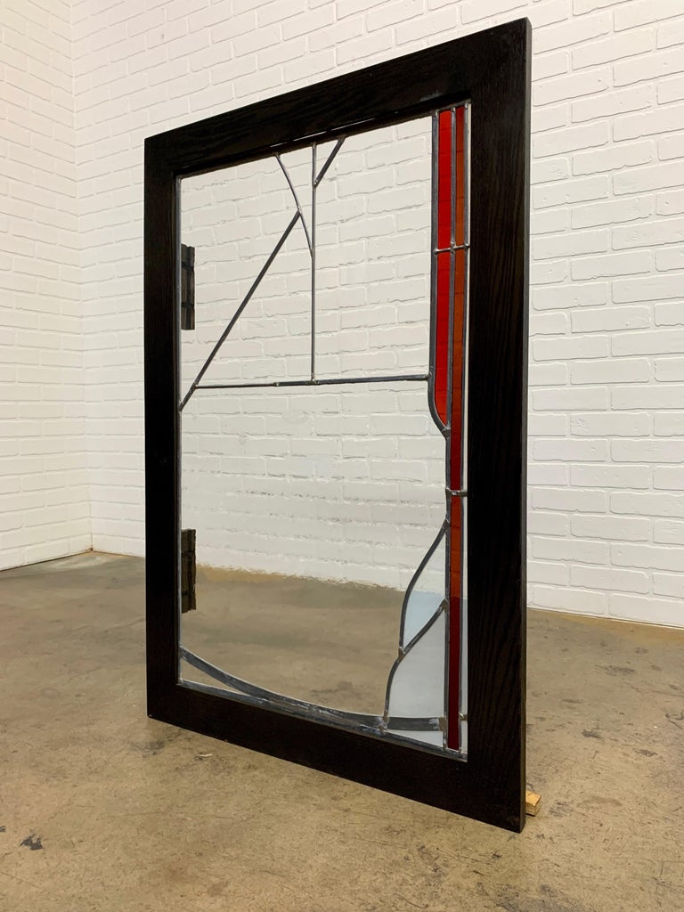 American Abstract Leaded Glass Window For Sale