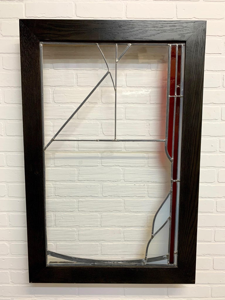 Abstract Leaded Glass Window In Good Condition For Sale In Laguna Hills, CA