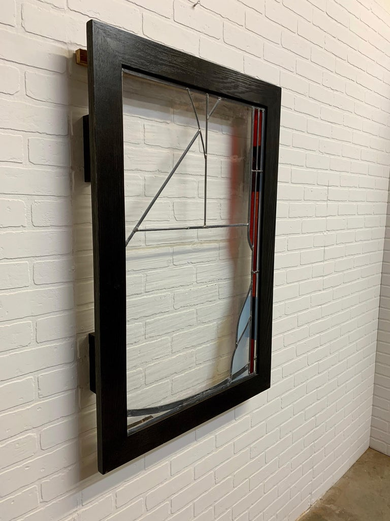 20th Century Abstract Leaded Glass Window For Sale
