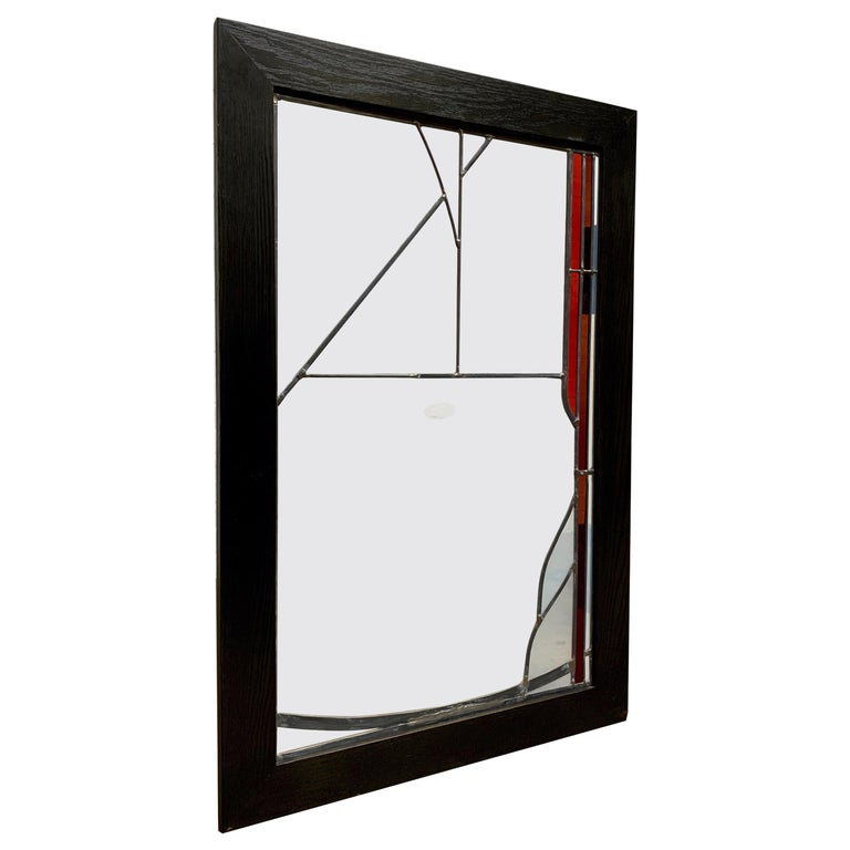 Abstract Leaded Glass Window For Sale