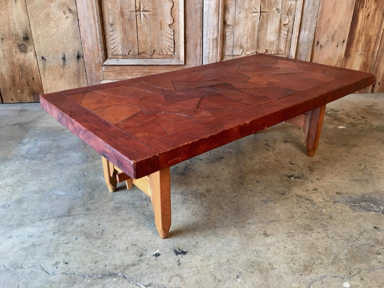 Abstract Leather Top Coffee Table by