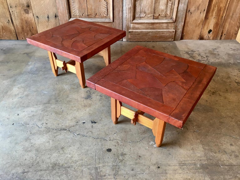 Abstract Leather Top End Tables by
