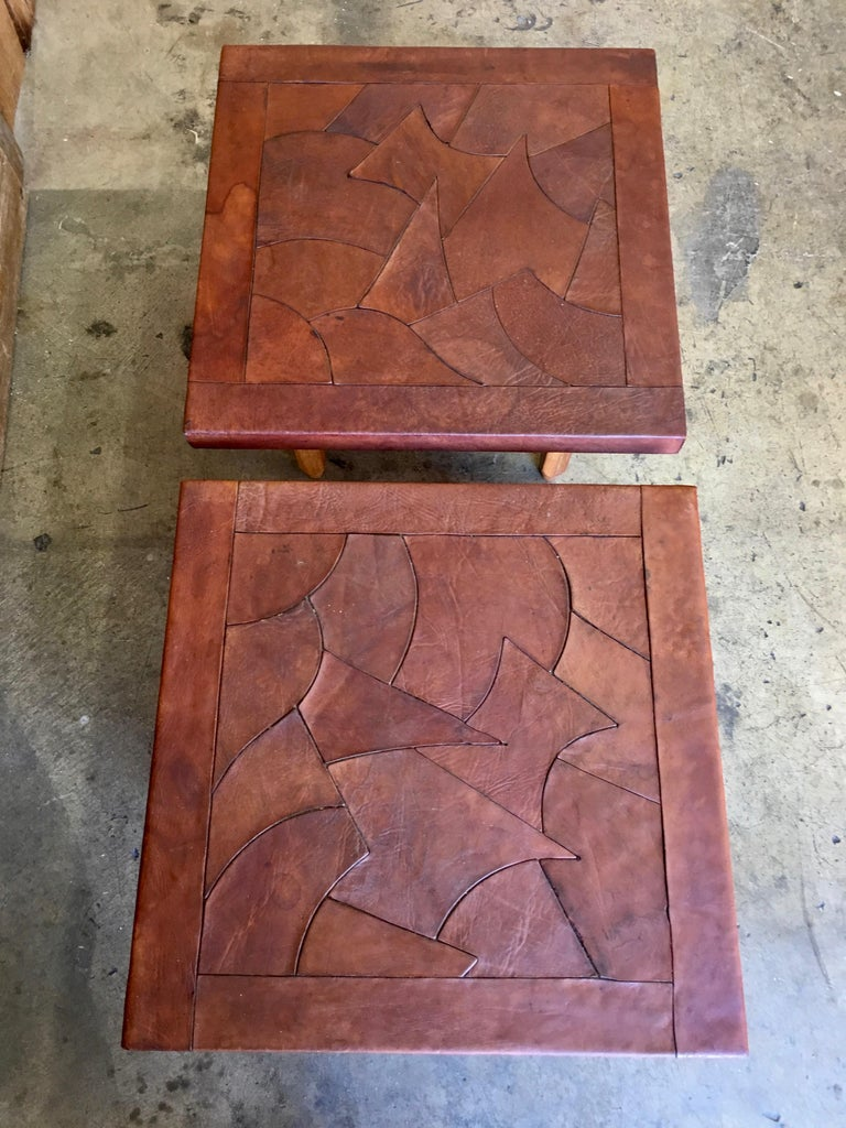 Mid-Century Modern Abstract Leather Top End Tables by