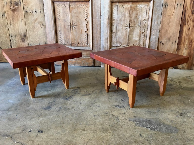 Colombian Abstract Leather Top End Tables by