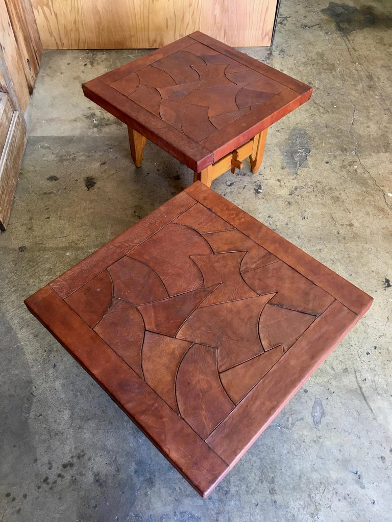 20th Century Abstract Leather Top End Tables by