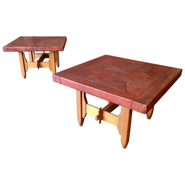 "Abstract Leather Top End Tables by ""Atre Sano"" Colombia For Sale"