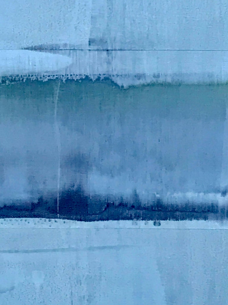 Modern Abstract Light Blue Painting Titled Sea Glass by Rebecca Ruoff, 2018 For Sale
