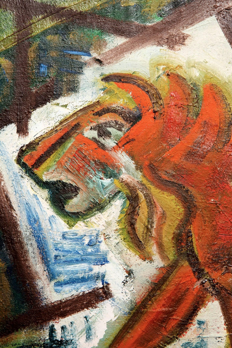 Fabulous French abstract lion painting found at an antique fair in the South of France. Great color palette of blues, greens and oranges creating this striking beast. Unsigned but beautifully painted oil on canvas.