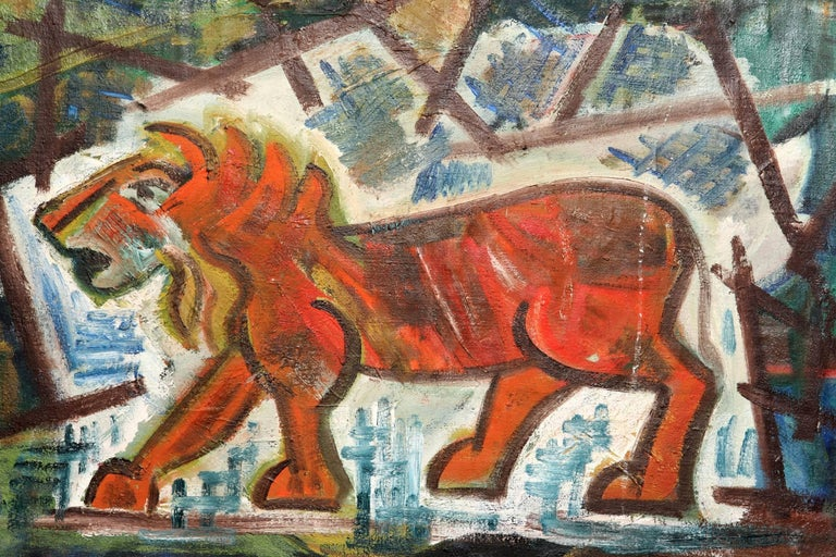 Abstract Lion Painting In Good Condition For Sale In New York, NY